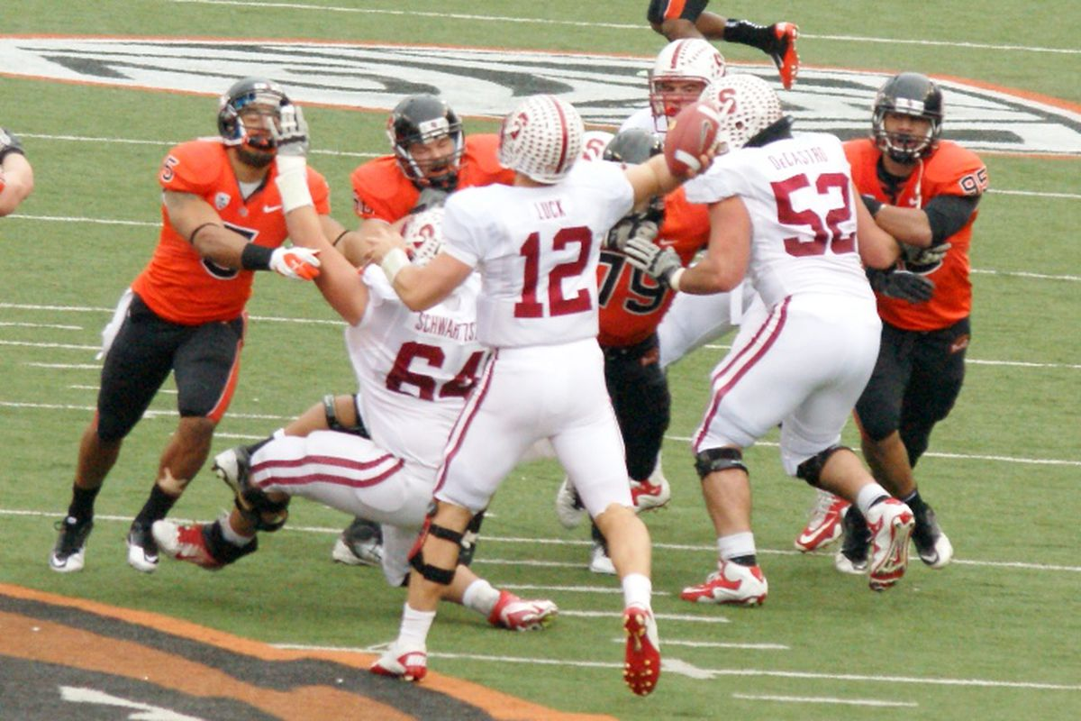 Stanford quarterback Andrew Luck (12) is the 2011 Player of the Year, and a first team Walter Camp All-American. David DeCastro (52), who blocked for Luck was also named to the first team. <em>(Photo by Andy Wooldridge)</em>