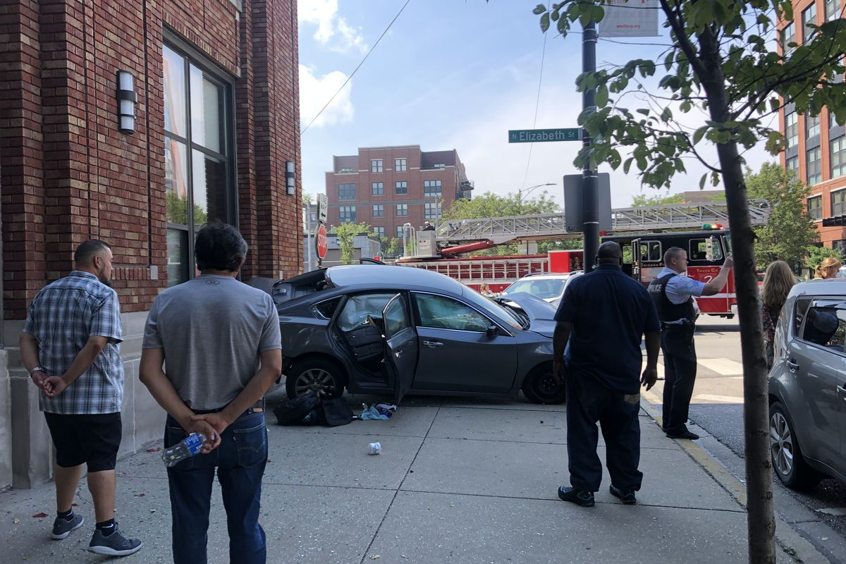 West Loop crash sends car into building
