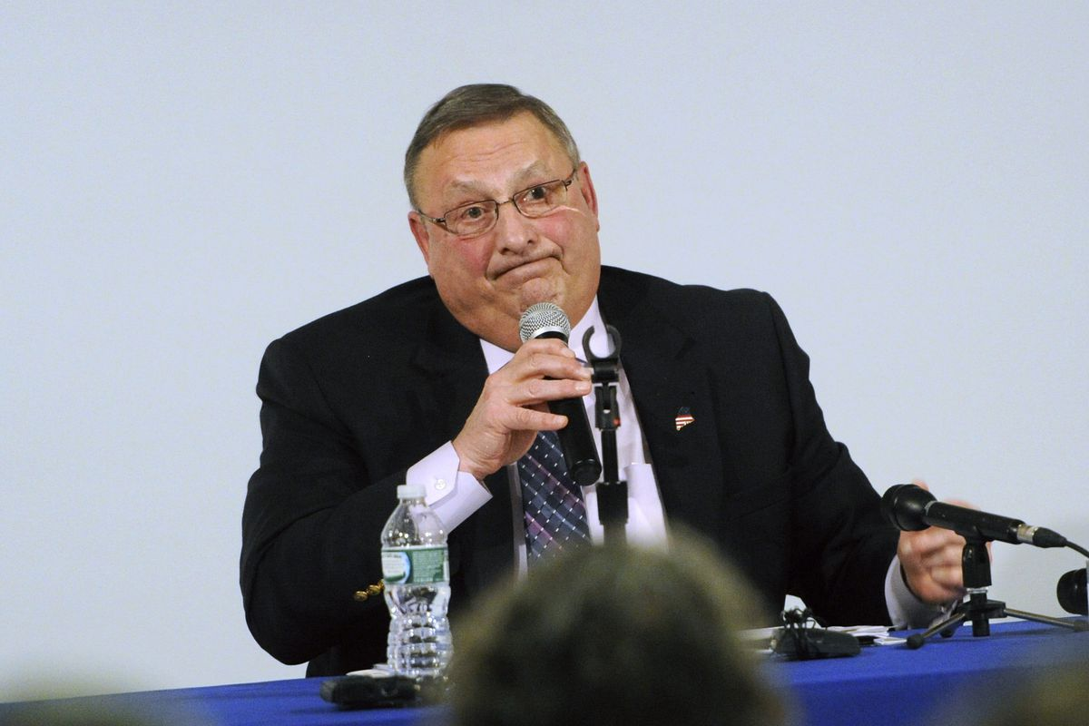Maine Gov. Paul LePage at a press conference.