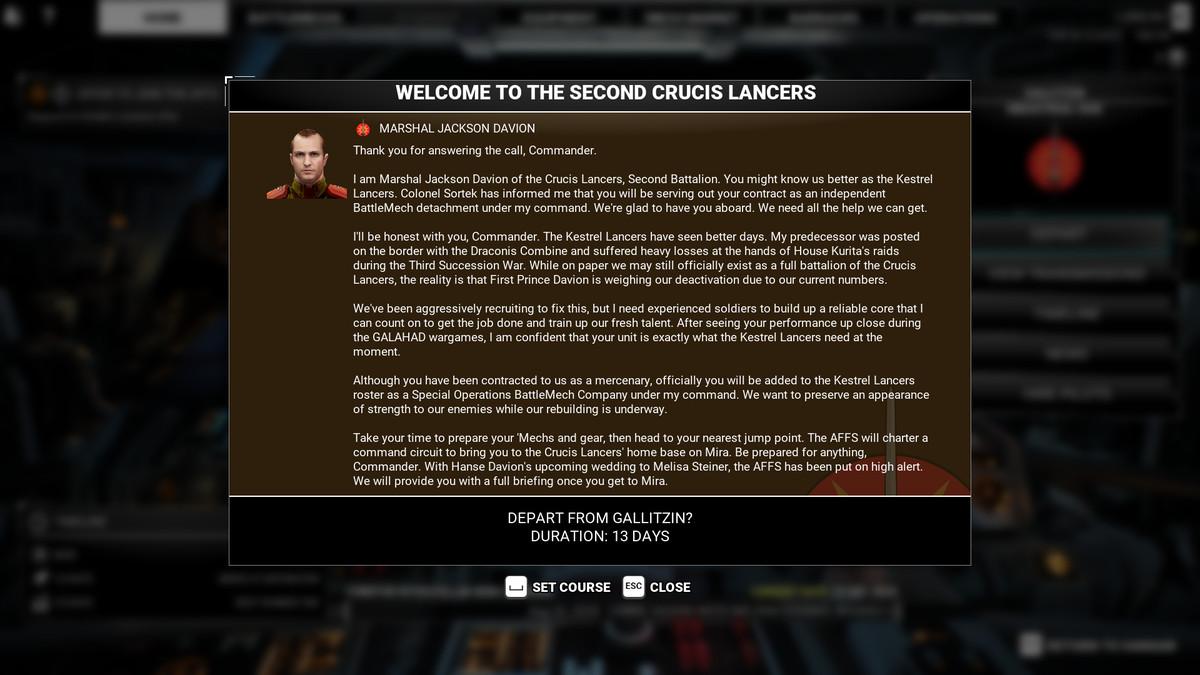 Marshal Jackson Davion welcomes the player to the Kestrel Lancers.