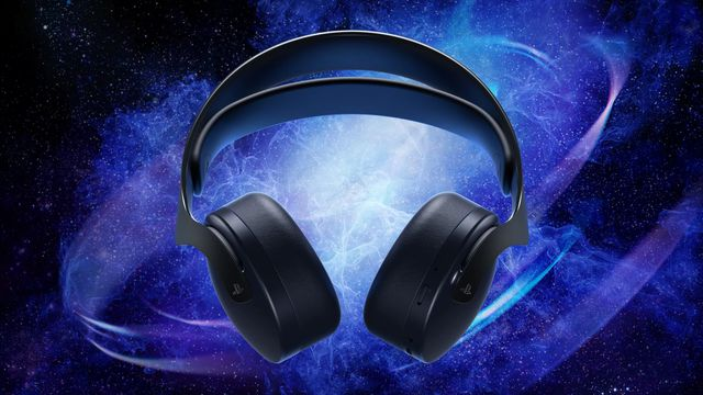 Sony's Pulse 3D Wireless Headset on a starry background
