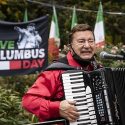 A man plays the accordion during the Columbus Day: Italian American Heritage Celebration at Arrigo Park in the Little Italy neighborhood, Monday morning, Oct. 12, 2020.