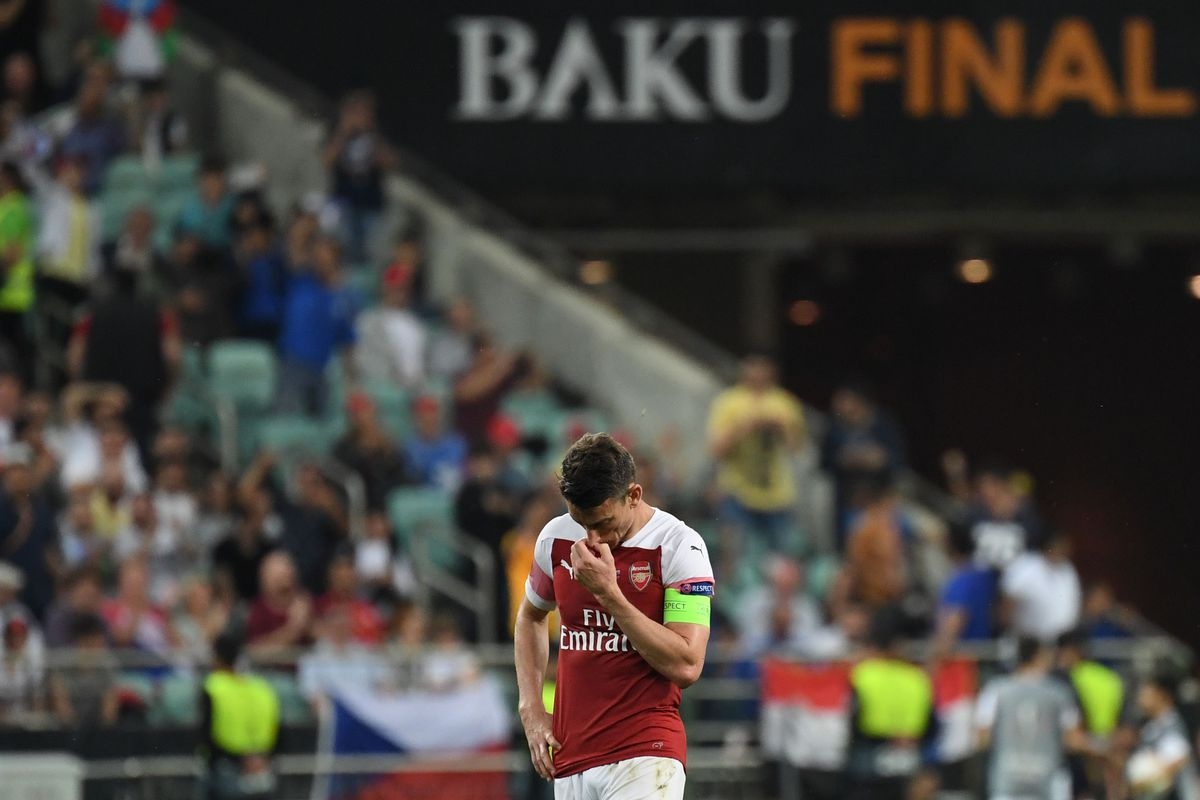 Arsenal CB Laurent Koscielny walks off the field after losing the UEFA Europa LeagueFinal to Chelsea, May 29, 2019.