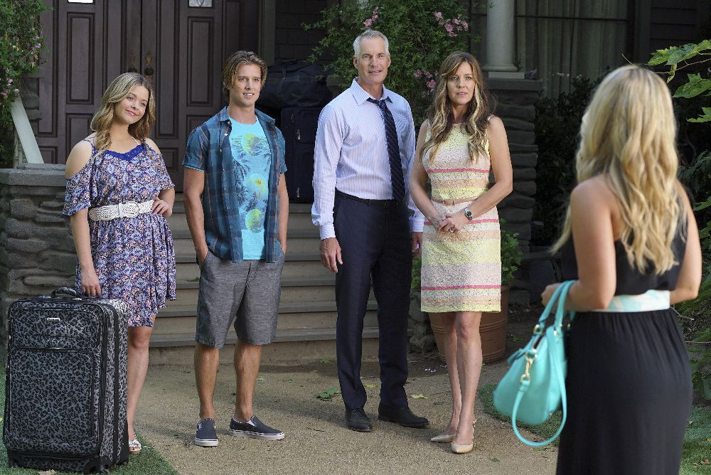 Alison, Jason, Kenneth, and Jessica DiLaurentis standing outside her home, speaking with CeCe Drake.