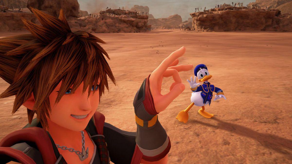 Sora flicking Donald Duck.