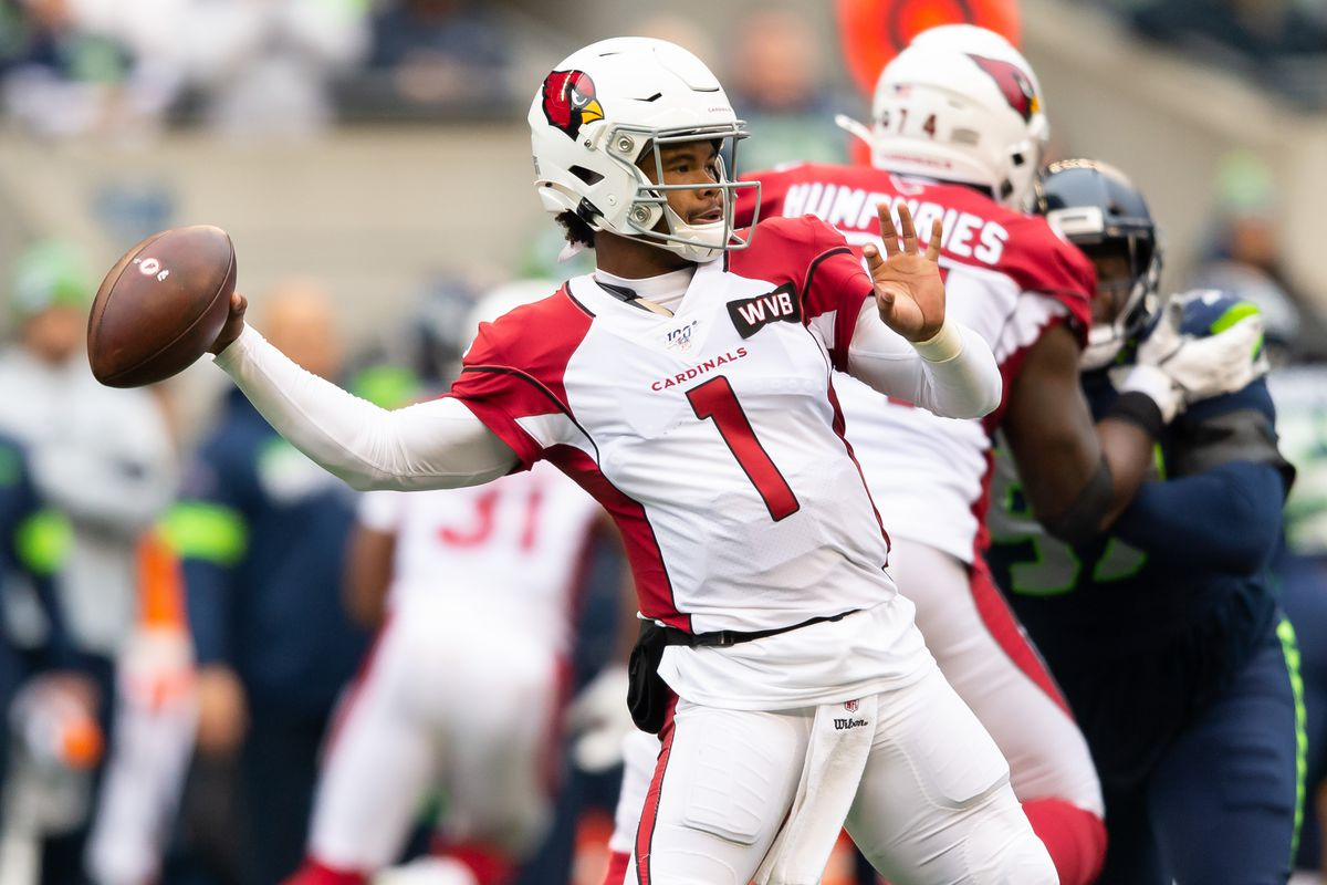 Arizona Cardinals quarterback Kyler Murray passes the ball against the Seattle Seahawks during the first half at CenturyLink Field. Arizona defeated Seattle 27-13.