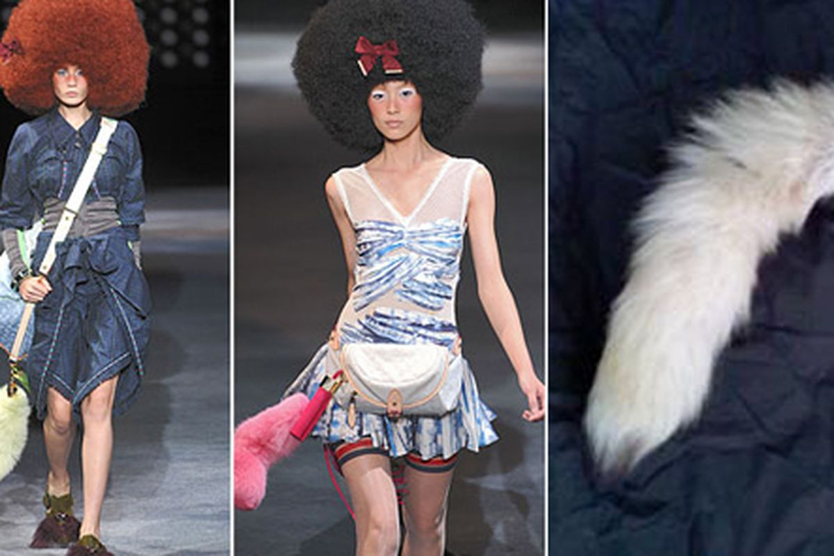 """From Paris to Williamsburg, and now finally LA: get your furry tail at Fred Segal. Images at left via <a href=""""mailto:http://nymag.com/daily/fashion/2009/10/louis_vuitton_shows_afros_mocc.html"""">The Cut</a>"""