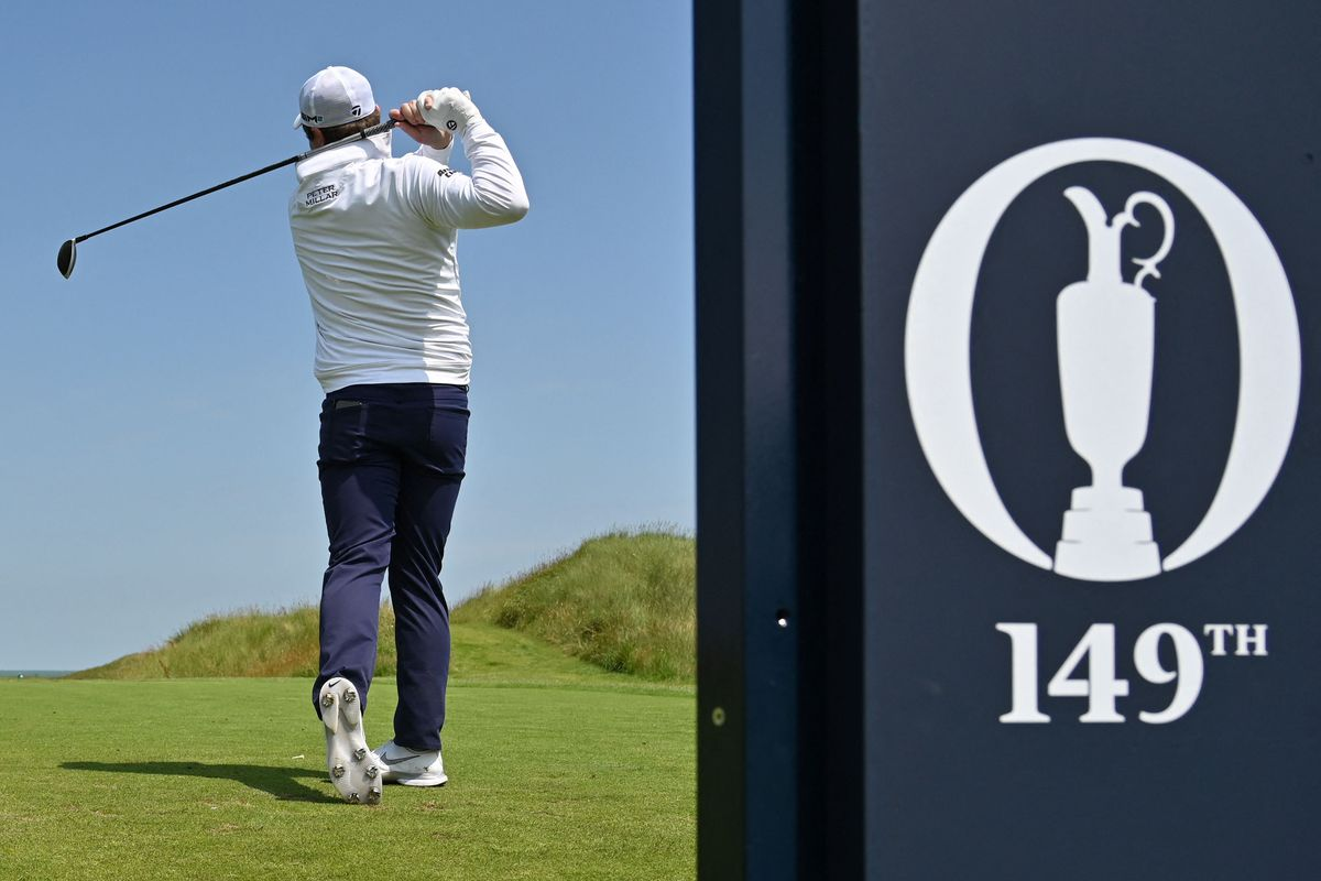 Scotland's Robert MacIntyre plays from the 5th tee during a practice round for The 149th British Open Golf Championship at Royal St George's, Sandwich in south-east England on July 13, 2021.