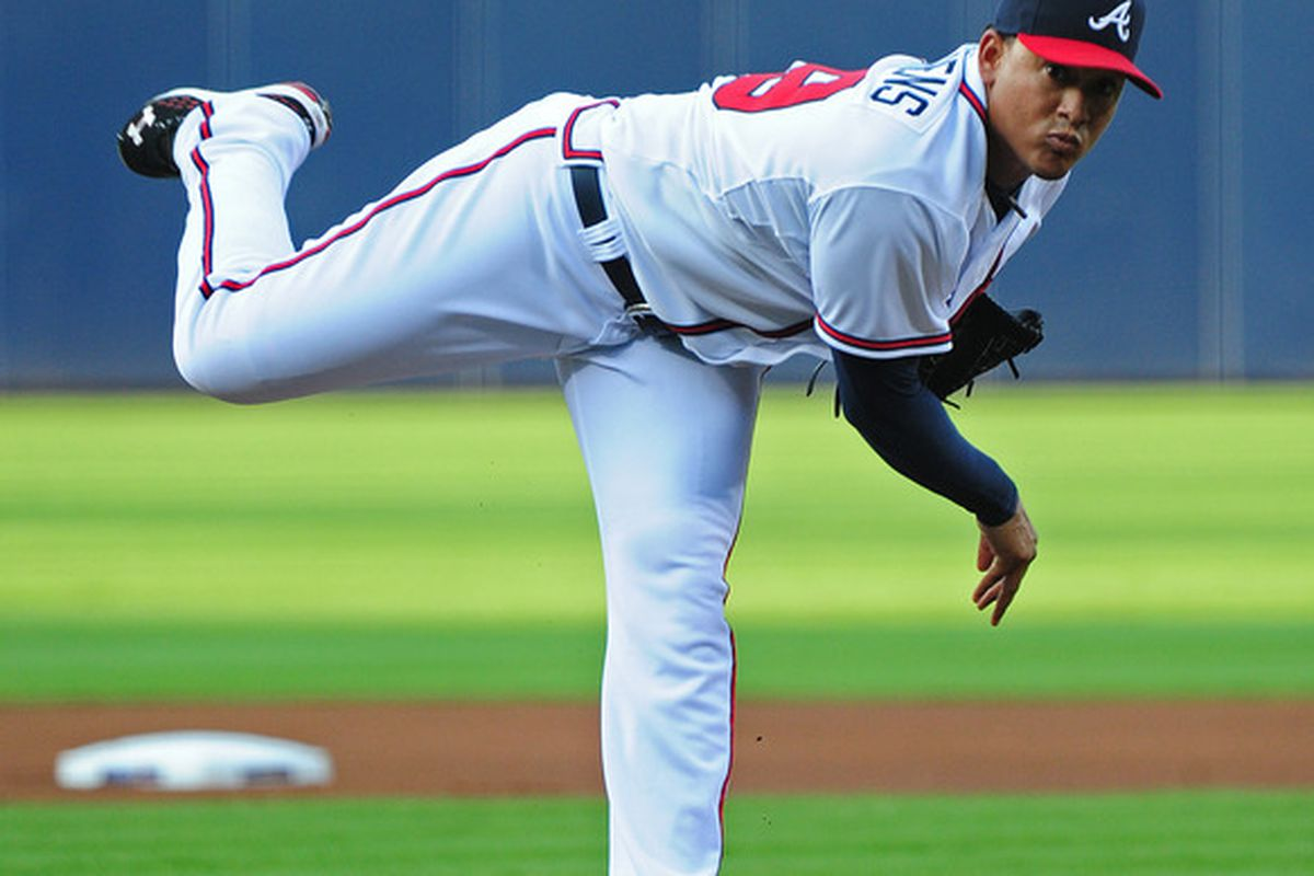 ATLANTA - JULY 27: Jair Jurrjens #49 of the Atlanta Braves pitches against the Pittsburgh Pirates at Turner Field on July 27, 2011 in Atlanta, Georgia. (Photo by Scott Cunningham/Getty Images)