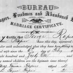 A marriage certificate from the archives of the Freedmen's Bureau that was organized near the end of the American Civil War to assist newly freed slaves in 15 states and the District of Columbia. The LDS Church, FamilySearch.org, the Smithsonian and other groups are partnering to on a project to recruit volunteers to index 1.5 million records from the Freedmen's Bureau archives through discoverfreedmens.org. The goal is to digitize all of the records and make them searchable online within nine months.