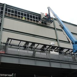 11:15 a.m. The back of the right-field video board -