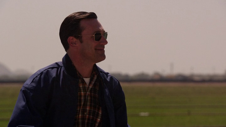 Don faces an uncertain future with a smile on Mad Men.
