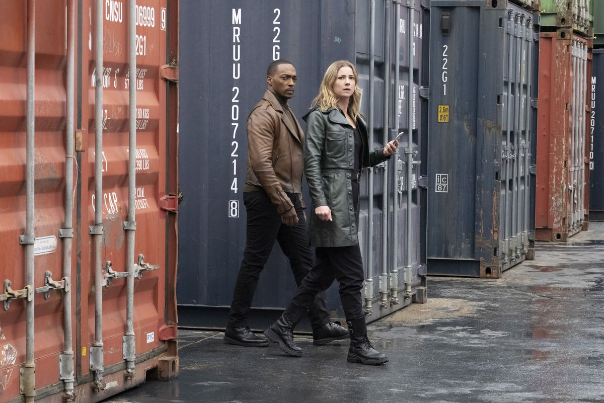 """Sam (Anthony Mackie) and CIA Agent Sharon Carter (Emily VanCamp in """"The Falcon and the Winter Soldier."""""""