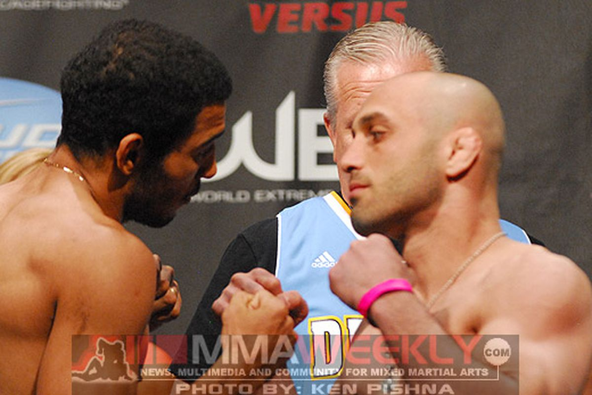"""Jose Aldo (left) will meet Manny Gamburyan in his second defense of his WEC featherweight championship tonight at WEC 51. Photo by Ken Pishna/<a href=""""http://www.mmaweekly.com"""">MMAWeekly.com</a>"""
