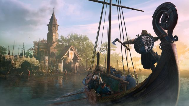 Eivor on a Viking longship, approaching a wary town.