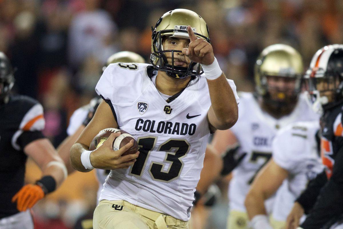 Sefo Liufau rushes for a touchdown in Colorado's win over Oregon State