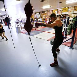 Boxer Whitney Gomez works out at Fullmer Brothers Boxing Gym in South Jordan on Wednesday, June 7, 2017.