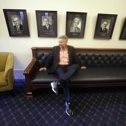 In this May 18, 2016 file photo, Libertarian presidential candidate, former New Mexico Gov. Gary Johnson, waits to speak with legislators at the Utah Capitol in Salt Lake City.