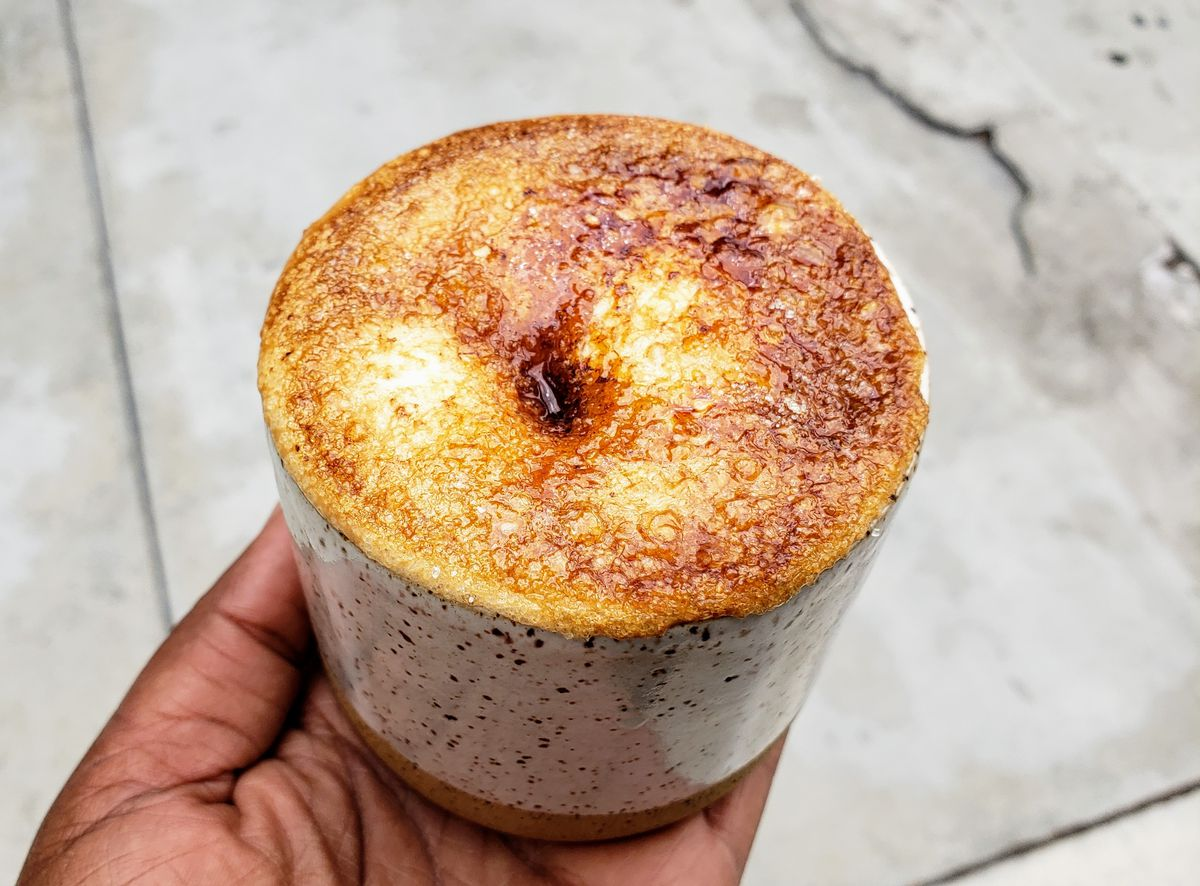 Creme brulee latte at Earth Bean Coffee in Downtown.