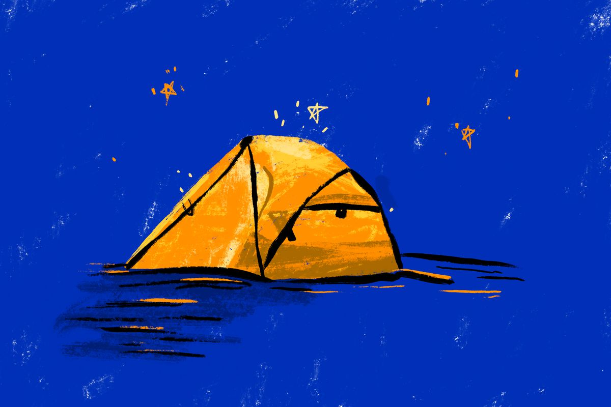 An illustration shows a camping tent.