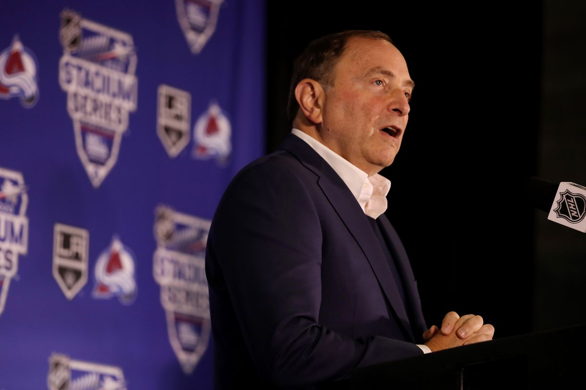 NHL Commissioner Gary Bettman addresses the media announcing the 2020 Navy Federal Credit Union NHL Stadium Series at Falcon Stadium on October 10, 2019 in Colorado Springs, Colorado.
