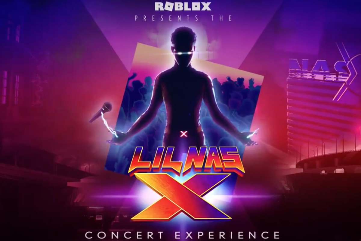 lil nas x in roblox; he stands with a floating microphone, only his eyes illuminated; the words LIL NAS X Concert Experience are written below him