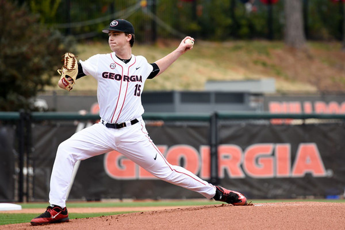 Georgia pitcher Kevin Smith pitches against Georgia Southern in a 2-1 series victory