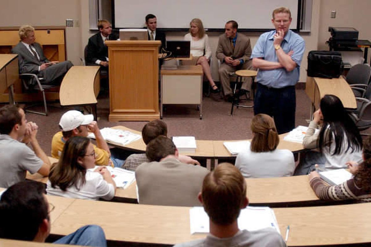 Doug Dean teaches a class to undergrads in the BYU Marriott School of Management.  An independent accounting publication ranked the school as No. 3 on a list of the nation's 50 best accounting undergraduate programs. The list also included the University