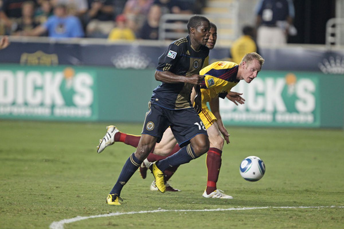 CHESTER PA - AUGUST 11: Forward Danny Mwanga #10 of the Philadelphia Union in action during the game against Real Salt Lake at PPL Park on August 11 2010 in Chester Pennsylvania. The game was a 1-1 tie. (Photo by Hunter Martin/Getty Images)