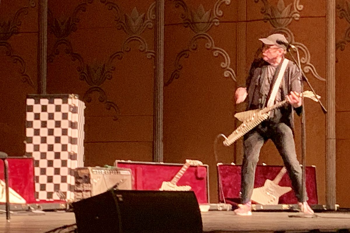 Cheap Trick guitarist Rick Nielsen performs before a presentation touting the Hard Rock Casino Rockford in 2019.