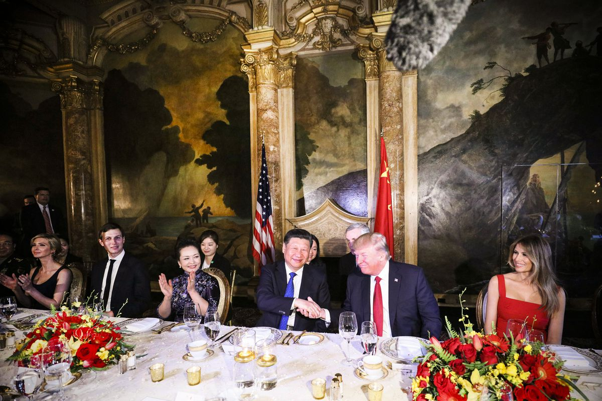 President Trump and Chinese President Xi Jinping shake hands during dinner at the Mar-a-Lago estate in West Palm Beach, Florida, on April 6, 2017.