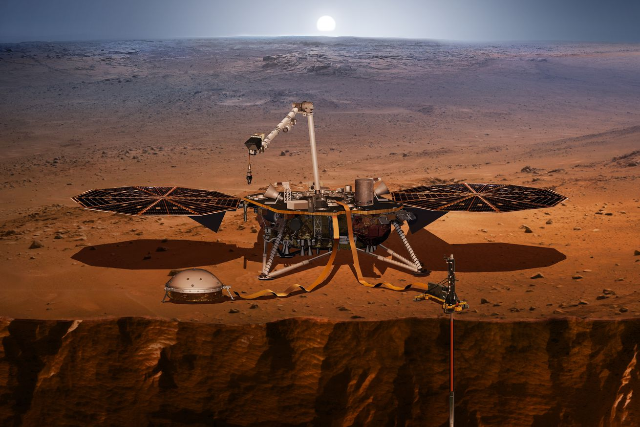 A rendering of the InSight lander on Mars
