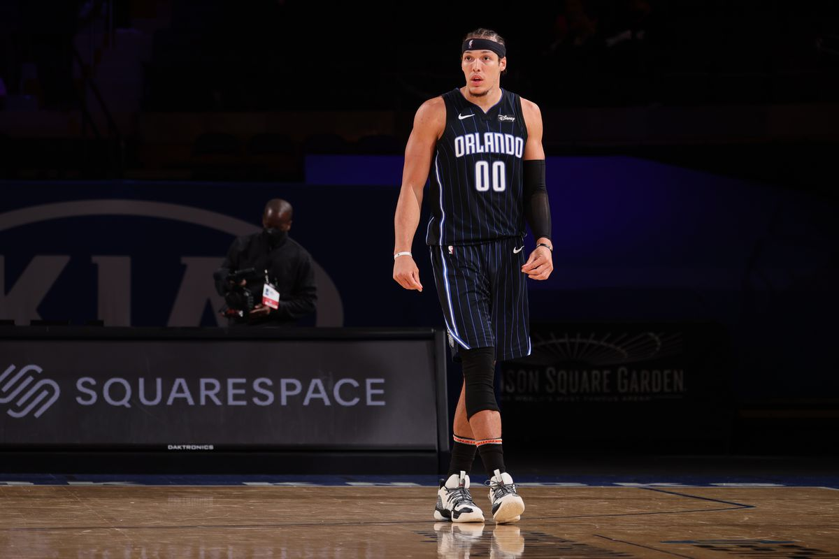 Aaron Gordon of the Orlando Magic looks on during the game against the New York Knicks on March 18, 2021 at Madison Square Garden in New York City, New York.