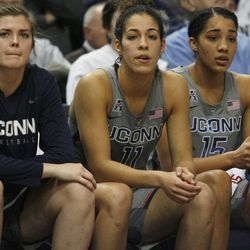 UConn's Kyla Irwin (25), Kia Nurse (11) and Gabby Williams (15) look on during the Notre Dame Fighting Irish vs UConn Huskies women's college basketball game in the Women's Jimmy V Classic at the XL Center in Hartford, CT on December 3, 2017.