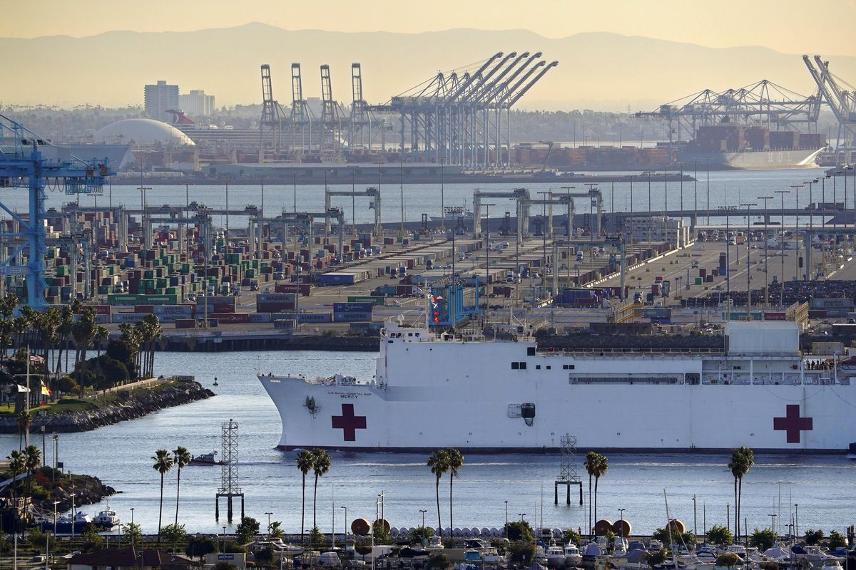 FILE - In this March 27, 2020, file photo, The USNS Mercy enters the Port of Los Angeles in Los Angeles.