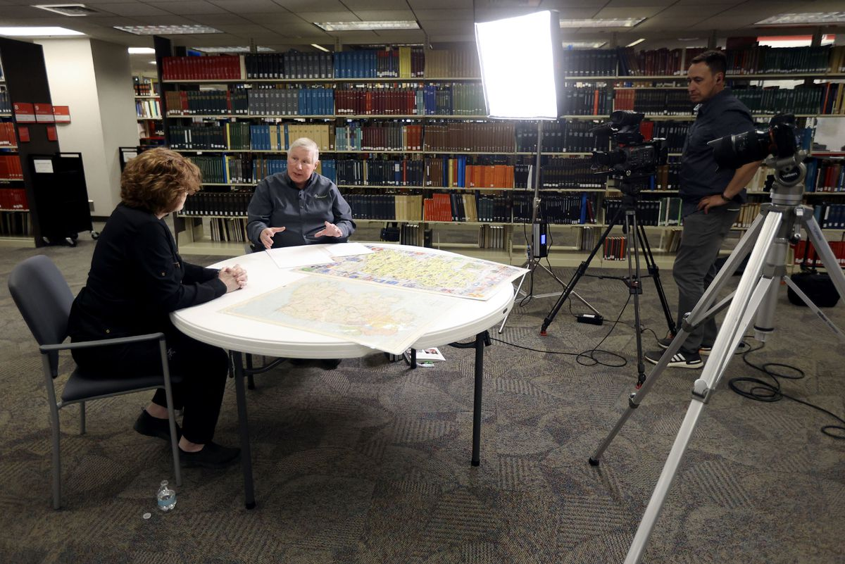 Kimberly Butler and Craig Foster discuss Butler's family history for a film documentary.