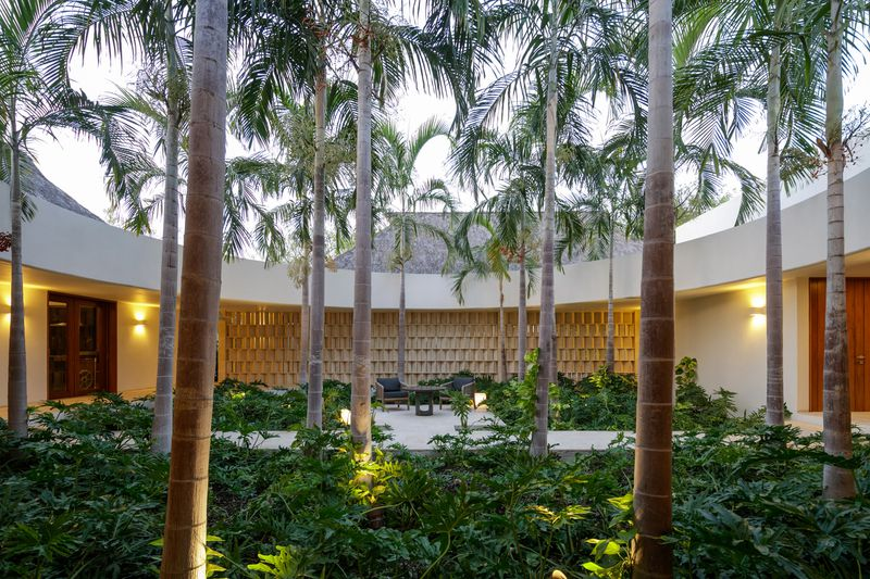 Circular courtyard with palm trees