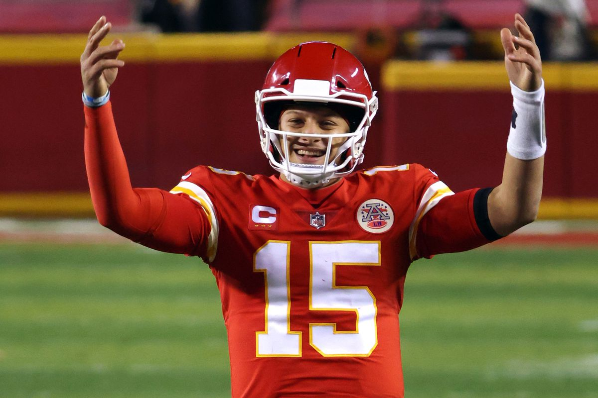 Patrick Mahomes of the Kansas City Chiefs celebrates in the fourth quarter during the AFC Championship game against the Buffalo Bills at Arrowhead Stadium on January 24, 2021 in Kansas City, Missouri.