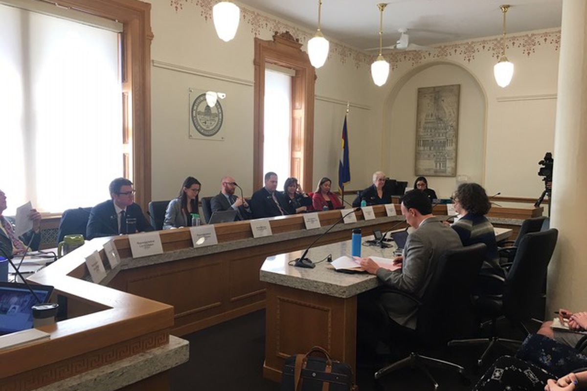 Democratic Reps. Dafna Michaelson Jenet, in the foreground, right, and Dylan Roberts, left, present a bill aimed at curbing Colorado youth suicide to the House Public Health Care and Human Services Committee on Feb. 20, 2019.