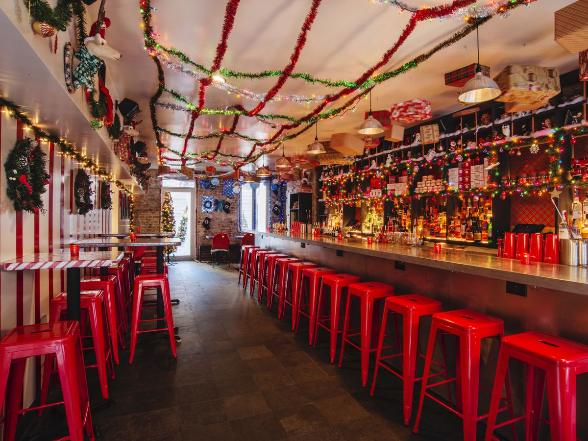 Mace's bar room decked out with Christmas decorations