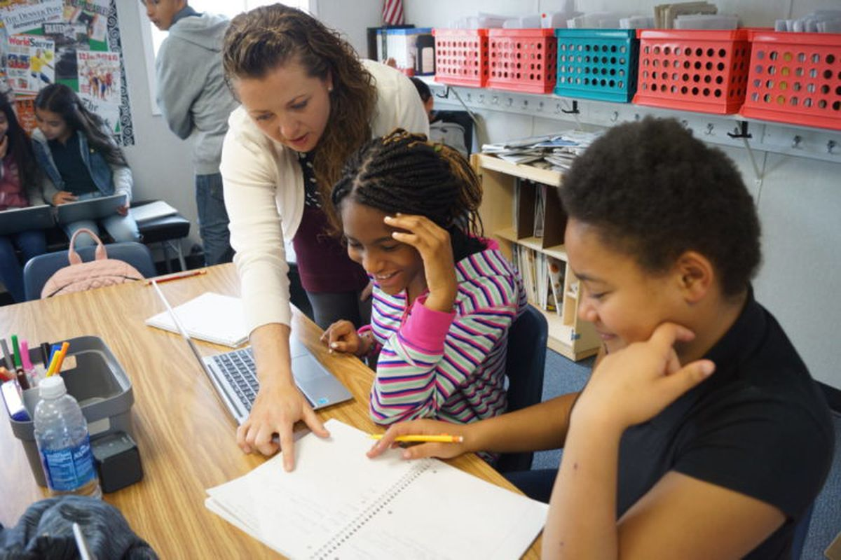 The author, Autumn Jones, in her classroom.
