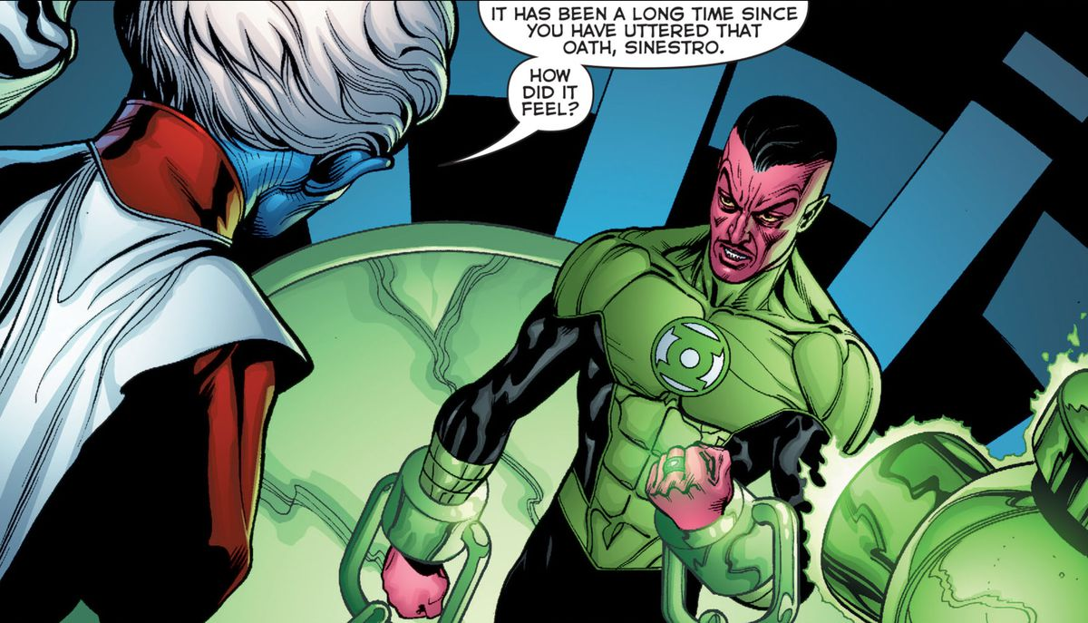A chained Sinestro faces the stern Guardians of Oa in Green Lantern #1 (2011).
