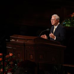 Elder Gerrit W. Gong, a member of the Quorum of the Twelve Apostles of The Church of Jesus Christ of Latter-day Saints, speaks during the Sunday afternoon session of the 191st Semiannual General Conference in the Conference Center in Salt Lake City on Sunday, Oct. 3, 2021.