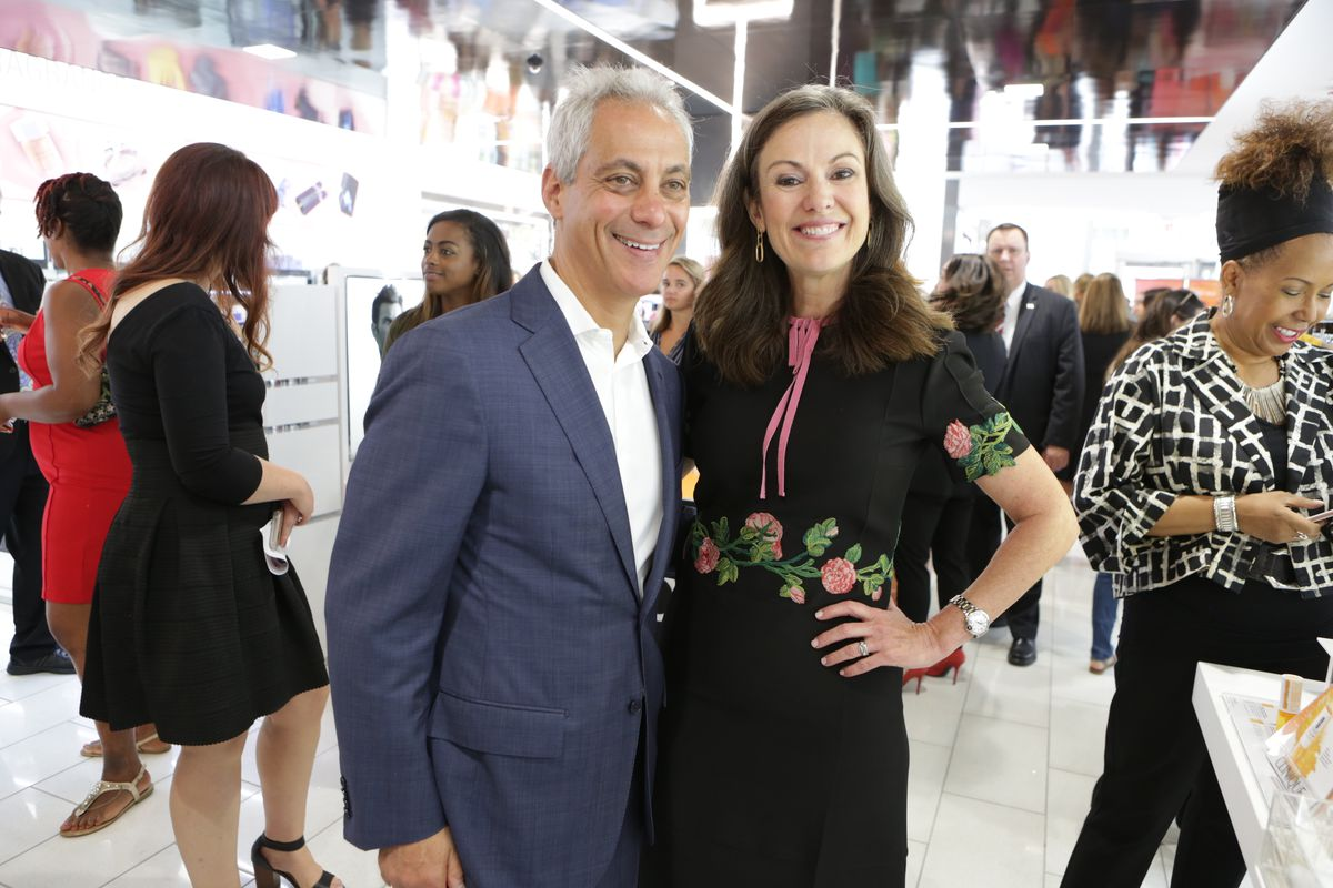 Ulta Beauty CEO Mary Dillon with then-Mayor Rahm Emanuel at the opening of the retailer's Michigan Avenue store in 2017.
