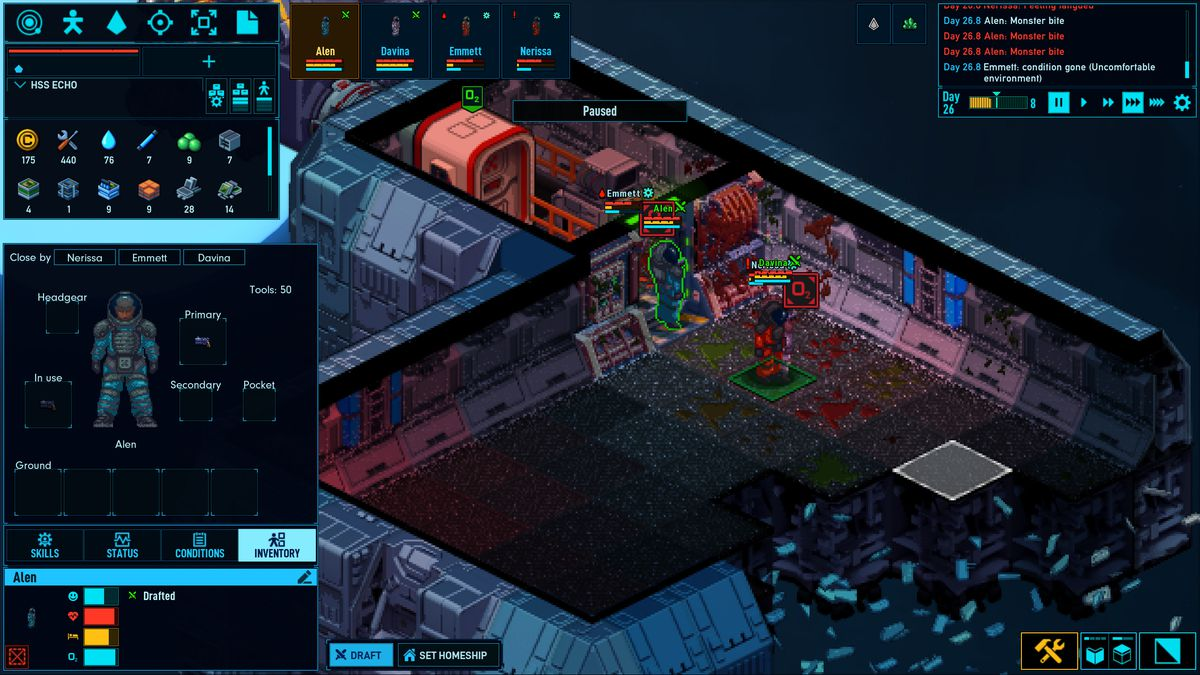 Three player-controlled characters wearing speacesuits explore a frozen ship. A hull breach has scattered debris in the bottom of the scene.