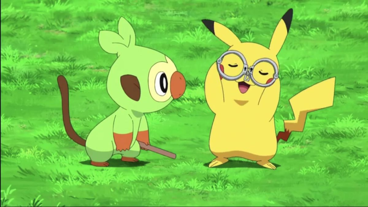 Pikachu is handcuffed like glasses with Grookey in the Pokémon anime