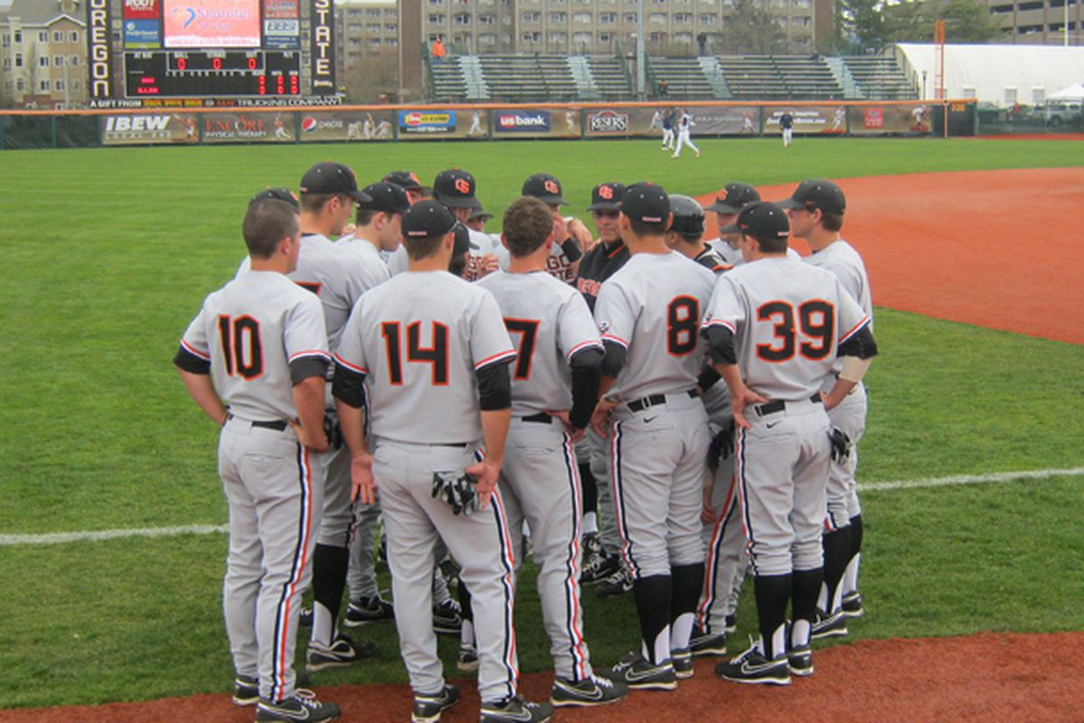 """""""Okay, guys, Washington is coming,"""" Oregon St. coach Pat Casey tells the Beavers, """"and they aren't your fathers' Huskies any more."""" <em>(Photo by RVM)</em>"""