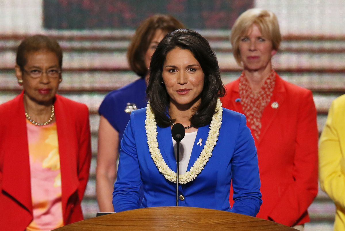 Tulsi Gabbard speaking at the Democratic National Convention in 2012.