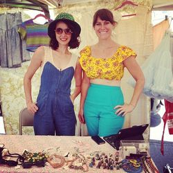 """The girls of <a href=""""http://www.fancydisaster.com/""""target=""""_blank"""">Fancy Disaster Vintage</a> and <a href=""""http://nakedcowgirlvintage.blogspot.com/""""target=""""_blank"""">Naked Cowgirl Vintage</a> showcasing their stellar retro style."""