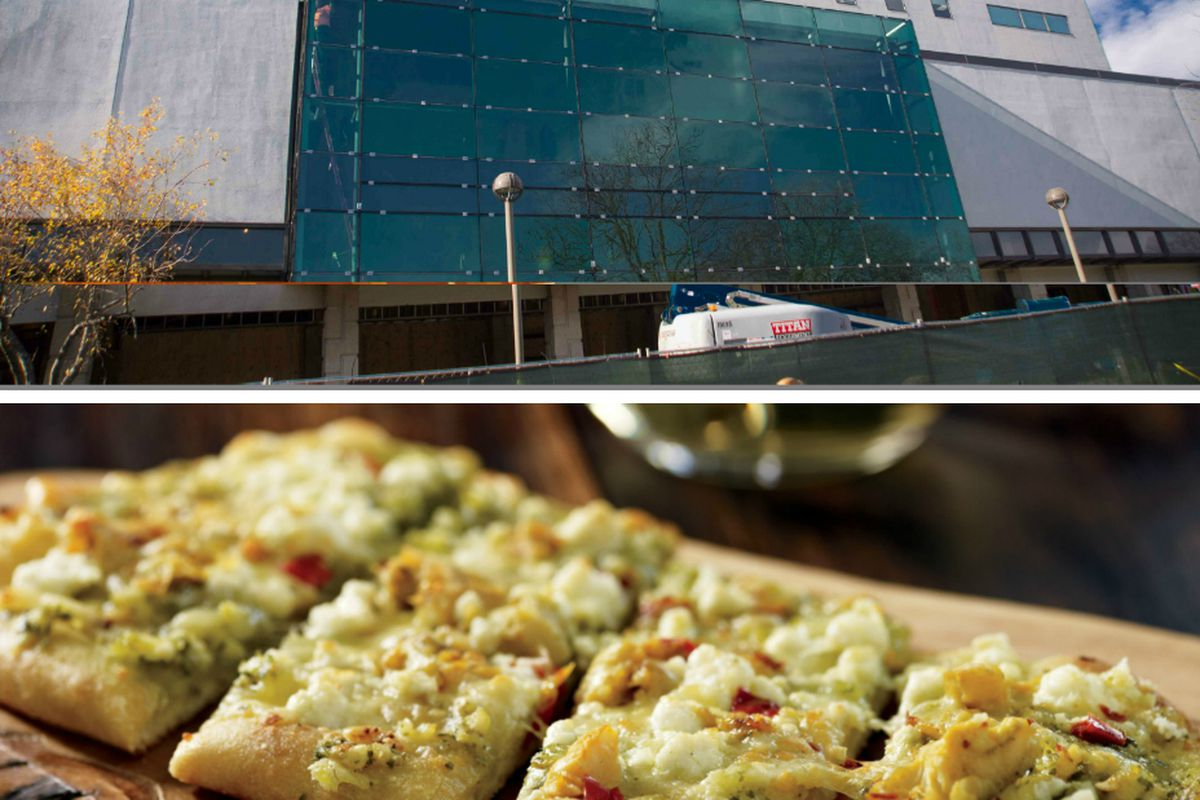 (Top) North Wing of the Student Center Building on the Wayne State University Campus, (Bottom) Artichoke and Goat Cheese Flatbread from Starbucks Evenings.